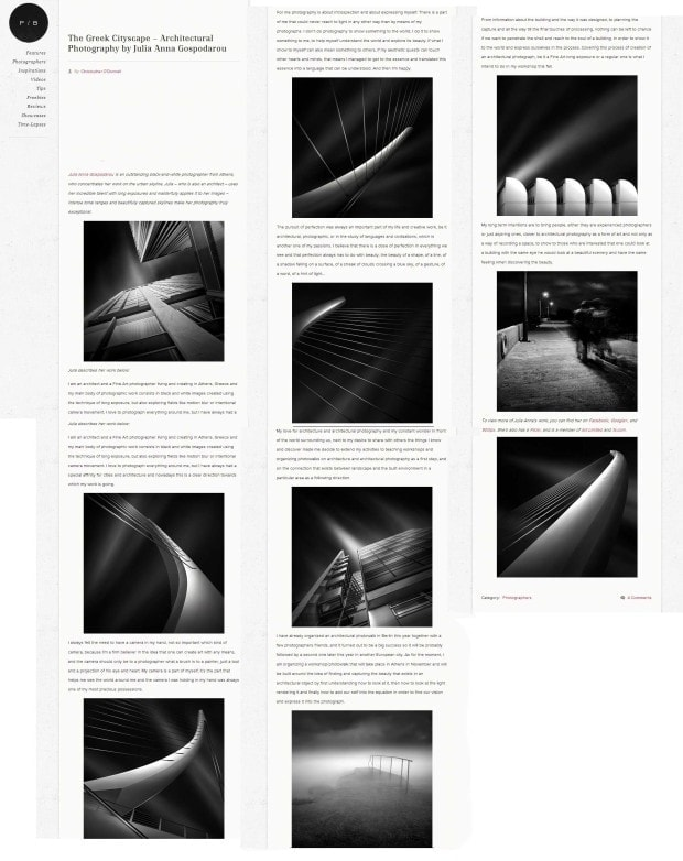 Interview and Portfolio Presentation - Photography Blogger, by Christopher O'Donnell