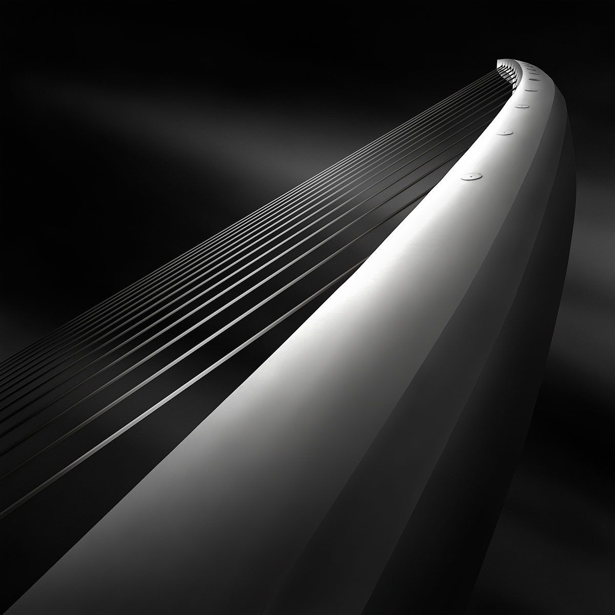 Like A Harp's Strings III - Rising - Calatrava Bridge Athens © Julia Anna Gospodarou 2012 - Award-Winning Architectural Photography