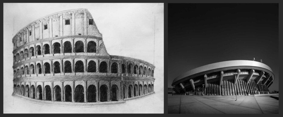 Colosseum, Rome - Drawing by Julia Anna Gospodarou --- A Higher Sky by Julia Anna Gospodarou