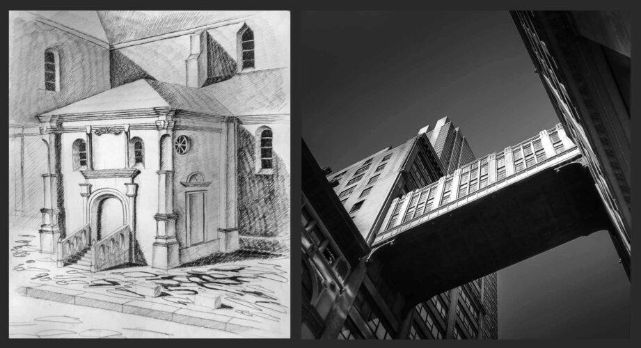 Renaissance Architecture - Drawing by Julia Anna Gospodarou & Penn Station Bridge - New York City - Photograph by Julia Anna Gospodarou
