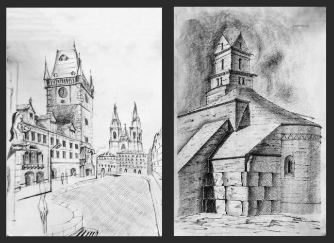 Prague Architecture & Densus Church, Romania - Drawings by Julia Anna Gospodarou