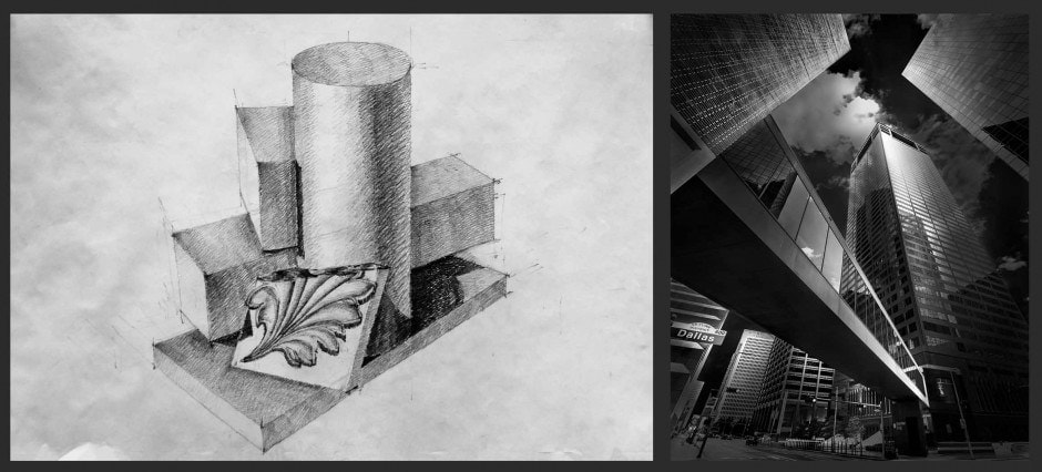 Still Life With Leaf- Drawing  by Julia Anna Gospodarou & Instant - Houston, TX Architecture by Julia Anna Gospodarou