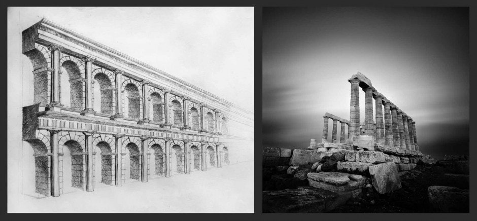Roman Aqueduct - Drawing (50x70cm) by Julia Anna Gospodarou & A time to Look Back- Photograph by Julia Anna Gospodarou