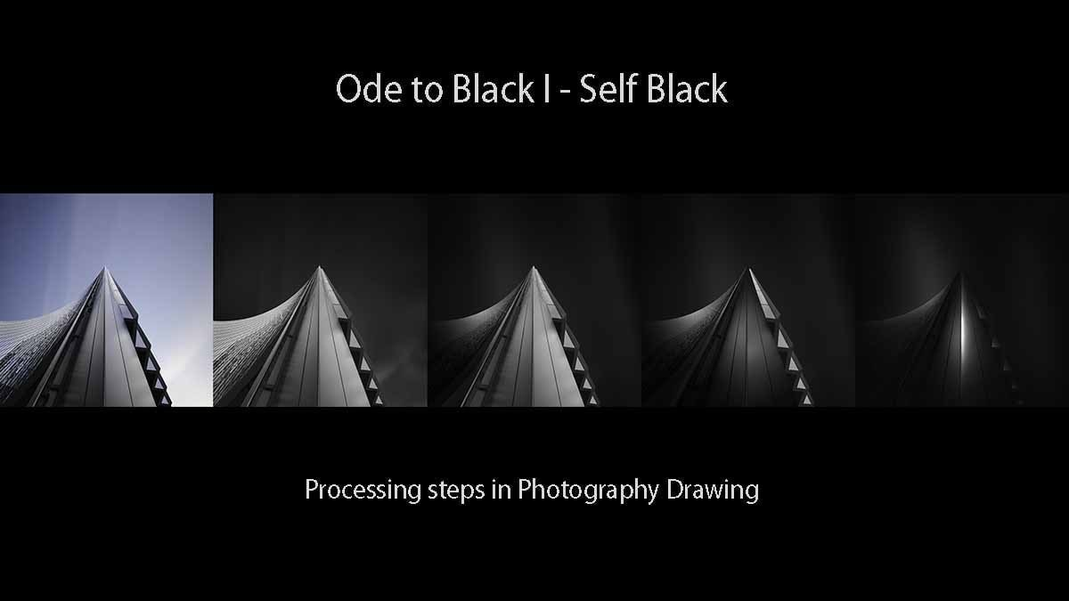 Ode to Black I - Self Black - Processing steps with Photography Drawing