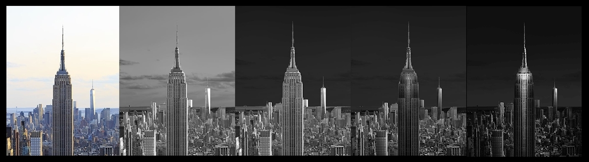 Urban Saga II - New York City Cityscape - Black and White Processing Steps - Photography Drawing Detail