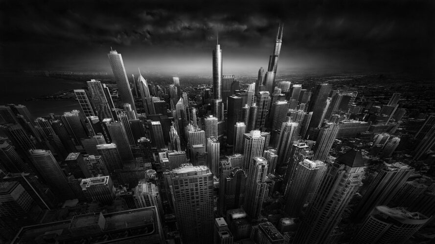 Rooftop Stories - Chicago Sky;ine -© Julia Anna Gospodarou - create an architectural fine art photograph