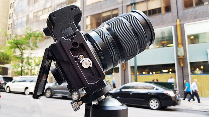 Placing the camera vertically on the tripod with an L-bracket