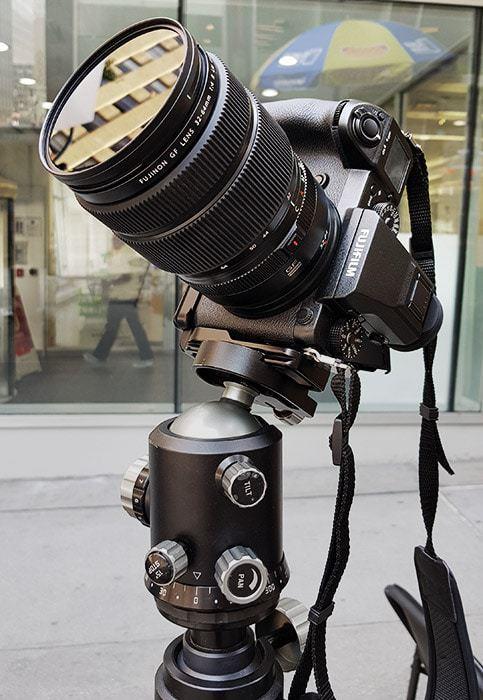 Long exposure setup with 16-stop circular ND filter Formatt-Hitech