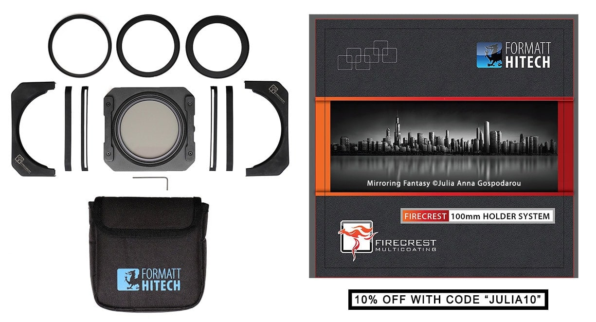 .Formatt-Hitech Firecrest 100mm Anti Lightleak Holder Kit - with Integrated polarizer - 10% OFF with code JULIA10