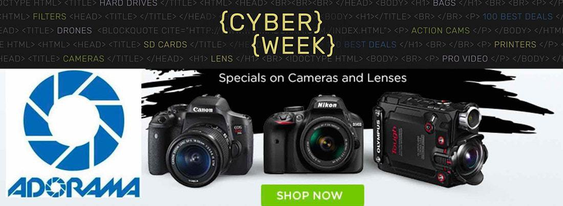 Adorama Gear CYBER WEEK Discounts - Through December 3, 2017