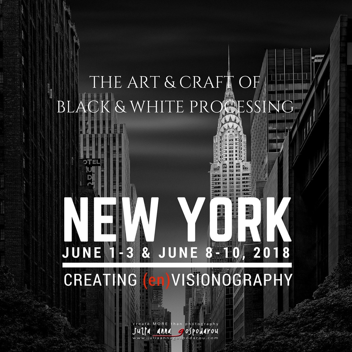 New York 2018 workshop black and white photography processing