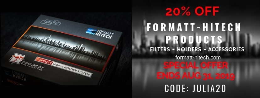 "SPECIAL OFFER ENDS Aug 31, 2019 - ANY Formatt-Hitech product - filters, holders etc. discount 20% OFF - CODE ""JULIA20"""