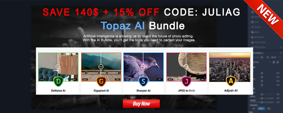 Topaz AI Bundle Discount 15% OFF withcode JULIAG