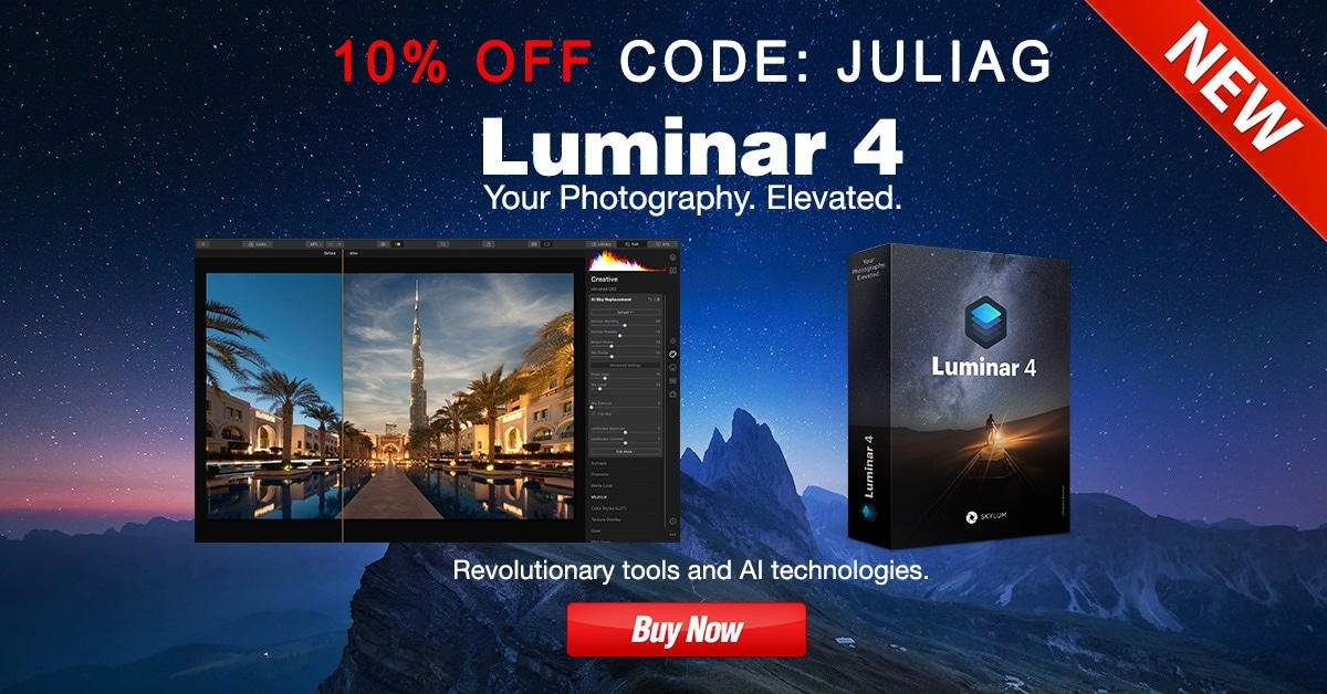 NEW! Luminar 4 with AI Technology discount 10% OFF - CODE JULIAG