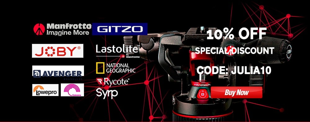 "ANY PRODUCT Gitzo, Manfrotto, Lastoline, Lowepro, Joby, Rycote, Syrp, Colorama, Avenger, National Geographic - discount 10% OFF - CODE ""JULIA10"""