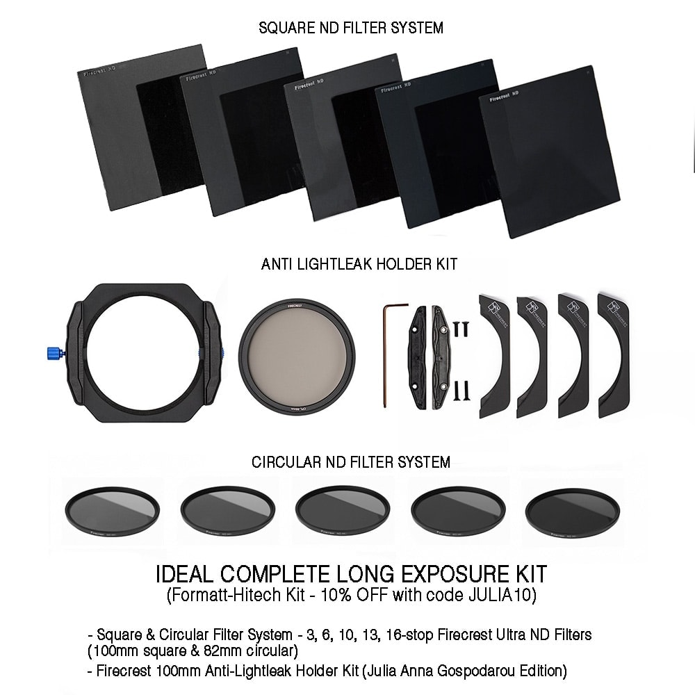 Ideal Complete Long Exposure kit 3, 6, 10, 13, 16-stop Formatt-Hitech Firecrest ND Filters - 10% OFF with code JULIA10